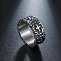 Men Cross Knights Templars Ring Stainless Steel Biker Gothic Punk Rock Jewelry