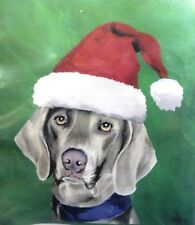 "Weimaraner in a Santa Hat Pure Breed Dog Garden Flag Christmas-Winter 28"" x 40"""