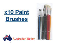 x10 Paint Brushes Artist Art Brush Watercolour Acrylic Assorted Sizes Pack Set