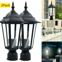 2X Post Pole Light Outdoor Garden Patio Driveway Yard Lantern Lamp Fixture Black