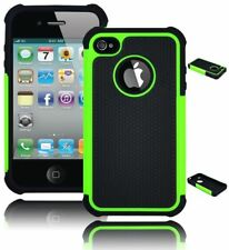 For iPhone 4 Hybrid Green Rugged Dual Layer Case + Black Silicone Cover