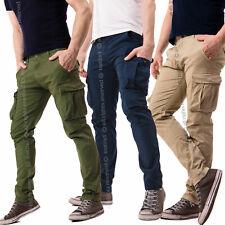 Pantaloni Uomo con Tasche Laterali Cargo jeans Tasconi Multitasche Polsino Zip