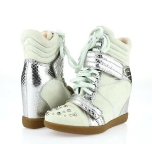 Boutique 9 Womens Off Mint Silver Leather Hightop Sneakers Shoes Size 6.5 M
