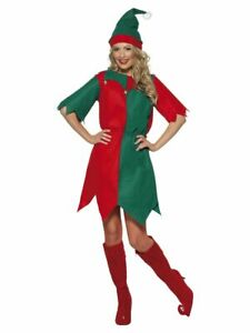 Ladies Adult Santas Little Helper Christmas Elf Fancy Dress Nativity Costume