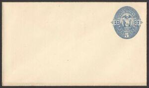 Ecuador envelope unused 1887 5c blue/white HG #B3a