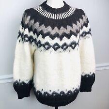 Vintage Aymara Alpaca Wool Handknit Nordic Fair Isle Sweater Small Brown Cream