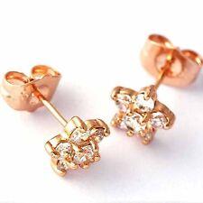 Lucky Womens rose Gold Filled Plum flower star small Gemstone Stud Earrings