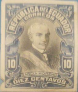 A) 1907, ECUADOR, PRESIDENT, GABRIEL GARCIA MORENO, DIE PROOF, NAVY BLUE