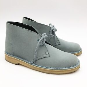 Clarks Desert Boot Light Blue Leather Suede Womens Size 8.5