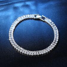 "Graceful White Topaz Silver for Women Jewelry Gems Chain Bracelet 7 5/8"" NS2141"