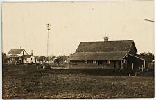 FARM SCENE antique picture postcard photo rppc kruxo HOUSE WINDMILL BARN BUGGY