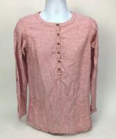 Duluth Trading Co Women's Small Hemp Organic Cotton Tunic Long Top Pink Striped