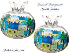 Glass Green Shabbat Candles Holders Mosaic Jerusalem Candlesticks Judaica Gift