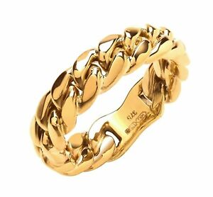 Mens 9ct Yellow Gold Curb Link Gents Ring - UK Jewellers