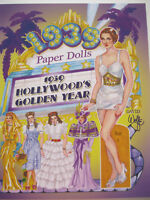 1939 HOLLYWOOD'S GOLDEN YEAR Paper Doll Book--3 Dolls, 17 Movie Costumes of 1939