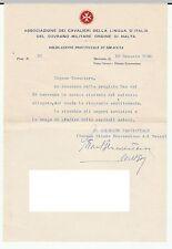 ASSOCIAZIONE CAVALIERI ORDINE DI MALTA - BARONE BENEVENTANO - SIRACUSA 18/1/1958