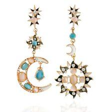 Fashion Sun Moon Pattern Pendant Earrings Natural Opal Dangle Jewelry For Women
