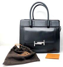 TOD'S Double T Black Medium Tote Satchel Zip Women's Handbag - NEW!