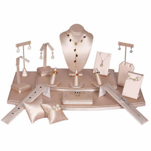 Pink Leatherette Jewelry Display Stands Holder Bracelet Earring Necklace Ring