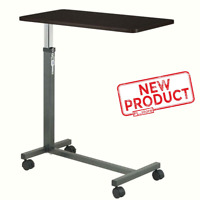 Over Bed Table Tray W/ Swivel Wheels Hospital Adjustable Rolling Bedside Trays