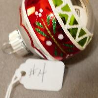 "Christmas Ornament Glass RADKO SHINY BRITE FEATHER TREE #04 Ball 2"" Stripe"