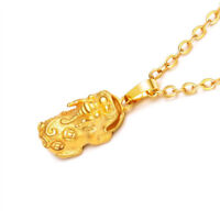 Hot Pixiu Pendant Necklace 24k Yellow Gold Filled Chinese Old Fashioned Jewelry