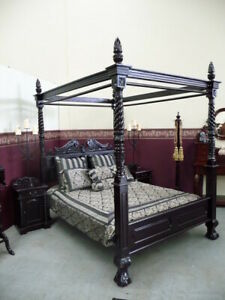 "STOCK USA King 76""x80"" Natural Black Queen Anne style Four Poster mahogany bed"
