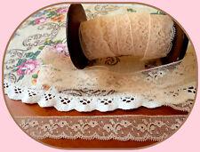 Dentelle de Calais ancienne  beige rosé  Vintage  coupon de  4m60 motifs fleurs