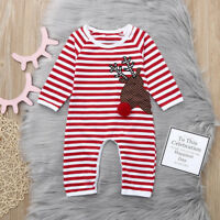 Newborn Baby Boy Girls Christmas Striped Deer Romper Jumpsuit Clothes Outfits CW