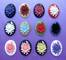 12 unset Mixed Colors ROSE Flower LOT C 40mm x 30mm CAMEOS Costume Jewelry craft
