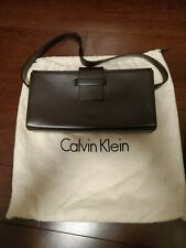 Calvin Klein Brown Leather Purse Excellent Condition w Dust Bag