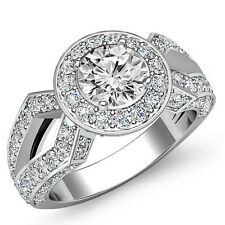 18k White Gold Halo Pave Ring 2.9ct Round Diamond Flawless Engagement Gia I Si1