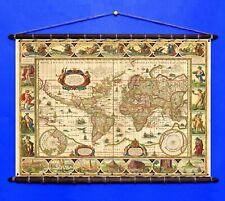 Antique Old World Map By Willem Blae 1617, Canvas w/ Vintage Wooden Frame Hanger