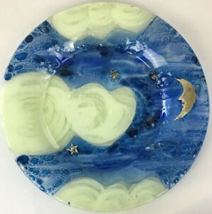 "Moon & Starry Night Sky 13.5"" Vintage 90s Bubbled Blue Glass Display Plate - New"