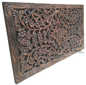 """Tropical Wood Carved Wall Decor Panel.Floral Wood Wall Art. 24""""x13.5"""""""
