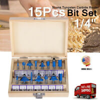 """15PCS Router Bits Set 1/4"""" Shank Tungsten Carbide Router Bit For Woodworking US"""