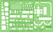 Metric 1:50 Scale Bathroom Kitchen Furniture Layout Drawing Template Stencil