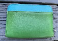 Boden Leather Green Blue Colorblock Zip Around Wallet, Great Condition