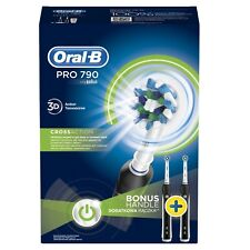Oral-B PRO P790 Black Electric Toothbrush Braun Genuine 2X HEADS - FREE SHIPPING