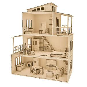 Large Wooden Doll House with Furniture 51x25x69cm Great Kids Gift Home Decro