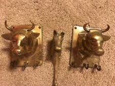 Vintage Brass Wall Mount Horse & Cow Head Towel Holder Hat