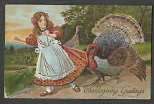 DATE 1913 PPC* VINTAGE THANKSGIVING GIRL FRIGHTENED BY ON COMING TURKEY SEE INFO
