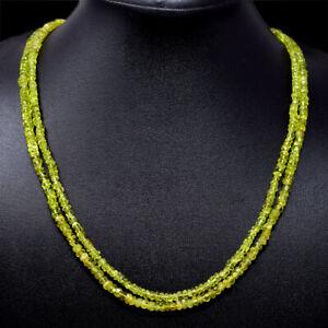 185.00 Cts Natural Green Peridot Round Cut Beads 2 Strand Necklace NK 17E64