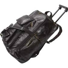 Black Genuine Leather Trolley Backpack W/ Telescopic Handle & Multiple Pockets