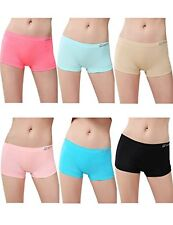 6 Pk Stretchy Seamless Sports Boy Short Panties Boxer Briefs For Women Girls S/M