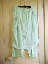 Womens Size 22 / 24W pajamas  green yellow Summer seersucker 100% cotton Fashion