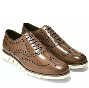 New Cole Haan Men's ZeroGrand Wingtip Oxford Leather British Tan  C14493 Size 8
