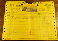 1950s Auto Parts Co. 600 S. Second St. Nashville TN Tennessee Paper Invoice