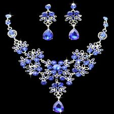 Jewelry Set Water Drop Wedding Bridal Party Crystal Rhinestone Necklace Earrings