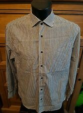 Reiss Mens grey striped long sleeve shirt large